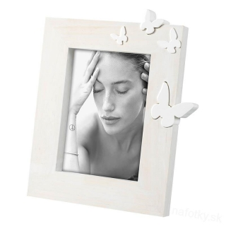 A1302 FRAME BUTTERFLY WHITE 13x18